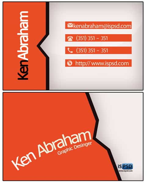 thick orange PSD Freebies : A collection of 40+ White Colored Business Cards