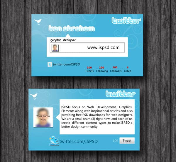 twitter business card  10+ Social Media Business Cards