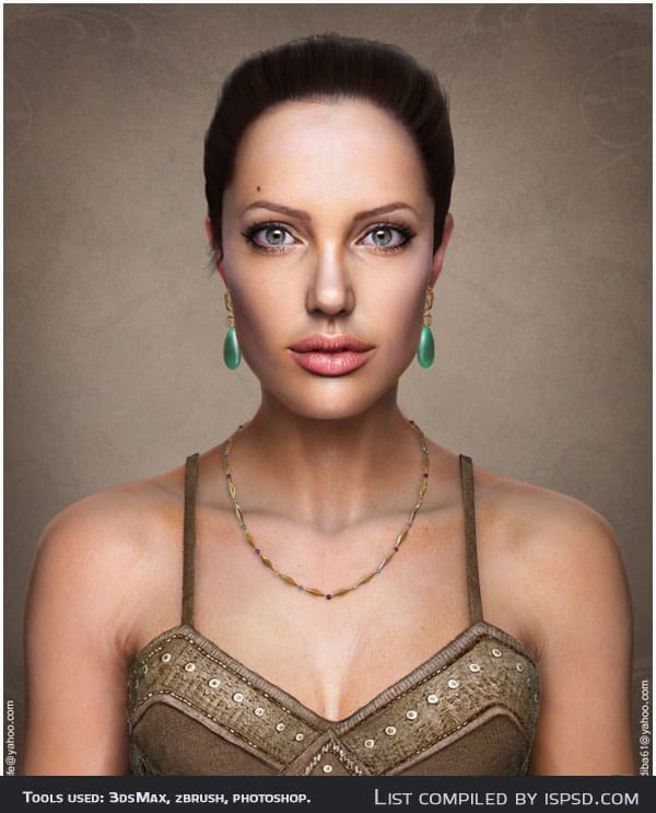 Angelina Jolie 3D Portrait Breathtaking and Amazing 3D Portraits