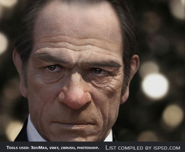 Tommy Lee Jones Breathtaking and Amazing 3D Portraits