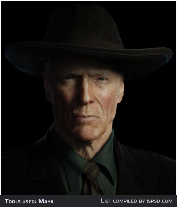 clint eastwood Breathtaking and Amazing 3D Portraits