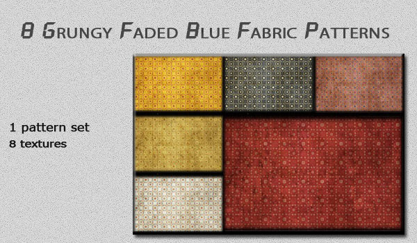 Grungy Faded Blue Fabric Patterns
