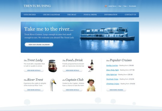 Trent River Cruises 30+ Examples of Websites Using Gradient Effect