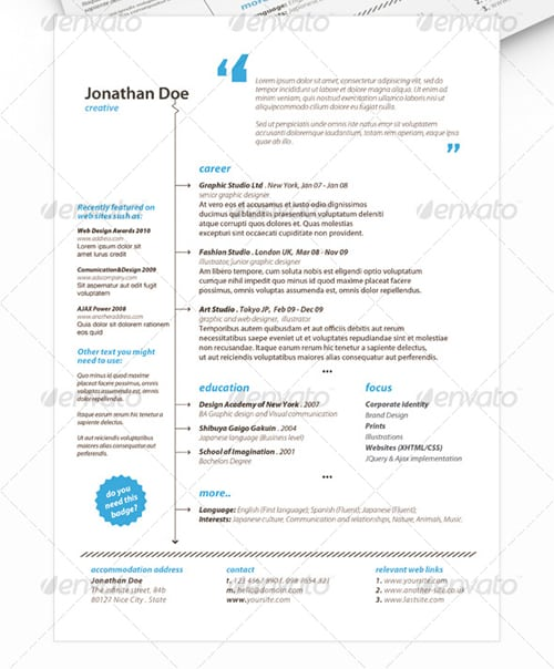get minimal resume 30 Modern and Professional Resume Templates