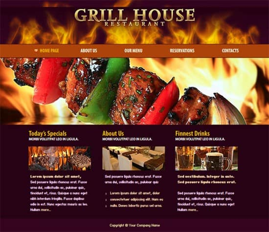 wpid 09 Grill House Restaurant 20 Free Flash Website Templates For Download