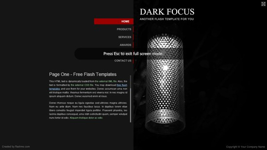 wpid 11 Dark Focus 20 Free Flash Website Templates For Download