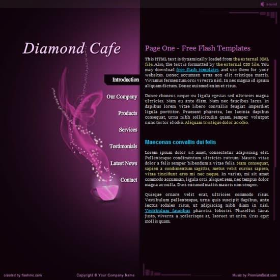 flash cafe website template