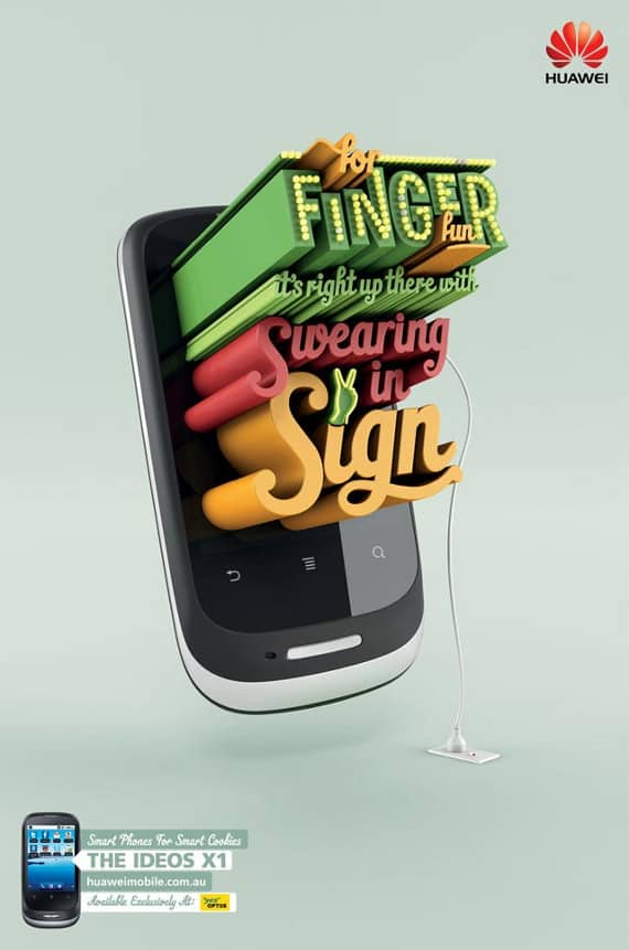 wpid finger fun 50 Examples of Typography in Advertising