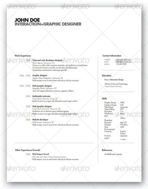 wpid modern and professional resume template examples 18 30 Modern and Professional Resume Templates