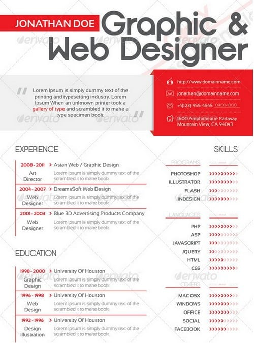 wpid modern and professional resume template examples 5 30 Modern and Professional Resume Templates