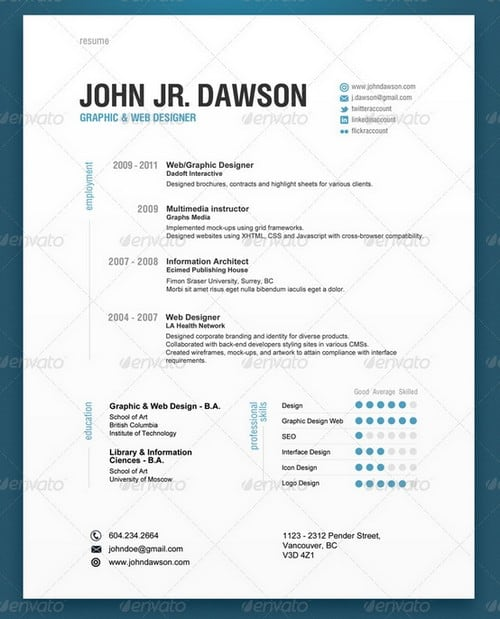Professional Cv Resume Templates: 30 Modern And Professional Resume Templates