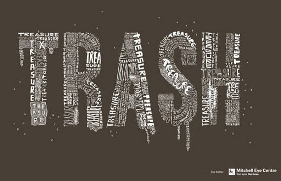 wpid trash mitchell eye 50 Examples of Typography in Advertising