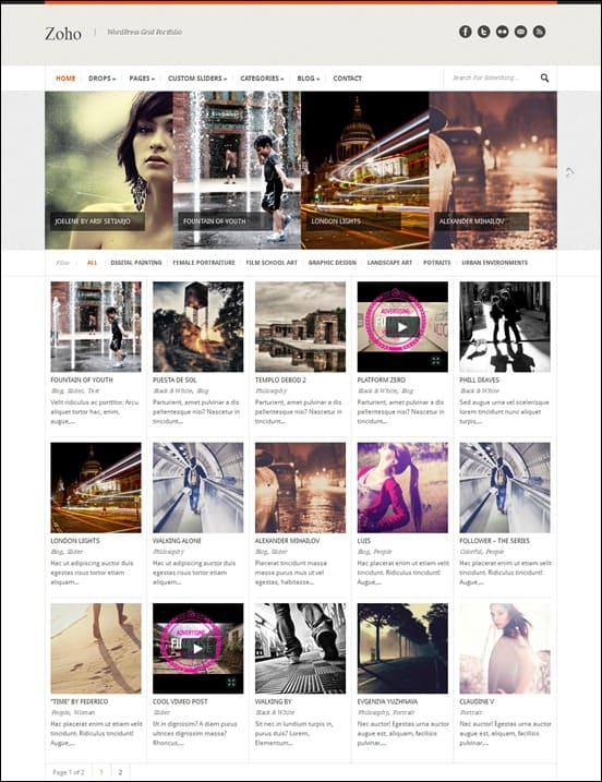 wpid zohothumb 50 Amazing WordPress Grid Themes