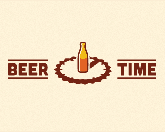beer time 40 Clock Logo Designs Inspirarion