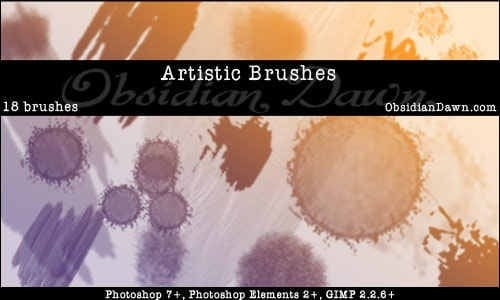 wpid artistic brushesthumb 50+ Water Brushes and Watercolor Brush Sets for Photoshop