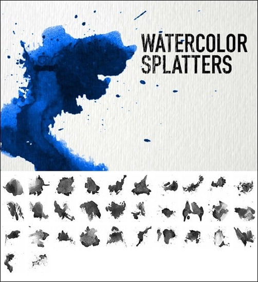 wpid watercolor splattersthumb 50+ Water Brushes and Watercolor Brush Sets for Photoshop