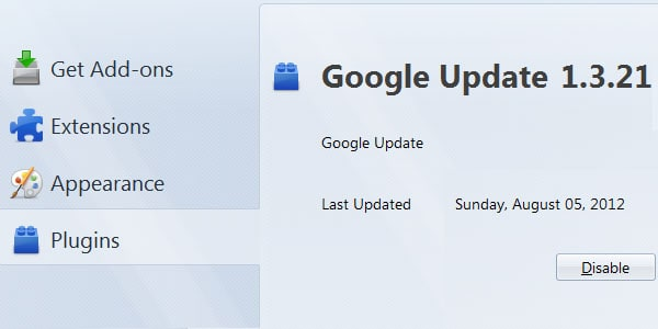 Current Version Plugin Google Update Remove current version of google update plugin from firefox
