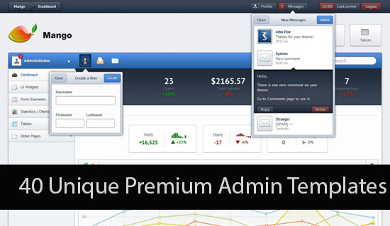 40 Unique Premium Admin Templates from themeforest