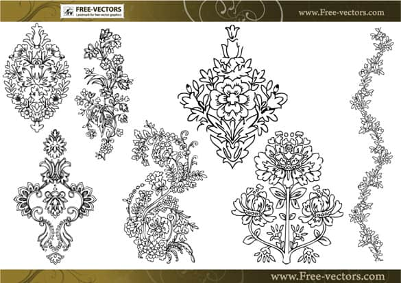 Ornate Floral Art Vector Decorations