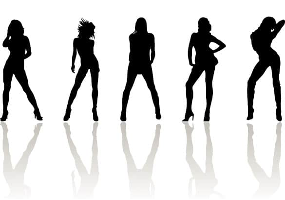 Posing Fashion Women Silhouette Vectors