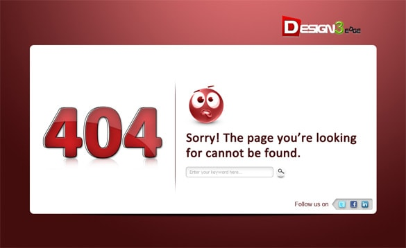404 Error Page Icon Template PSD