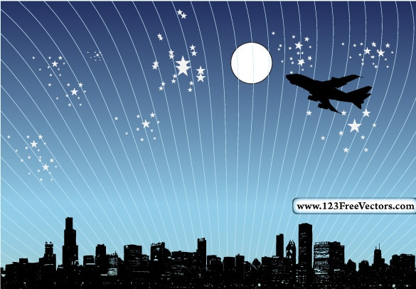 Night City Skyline Jet Silhouette Vector