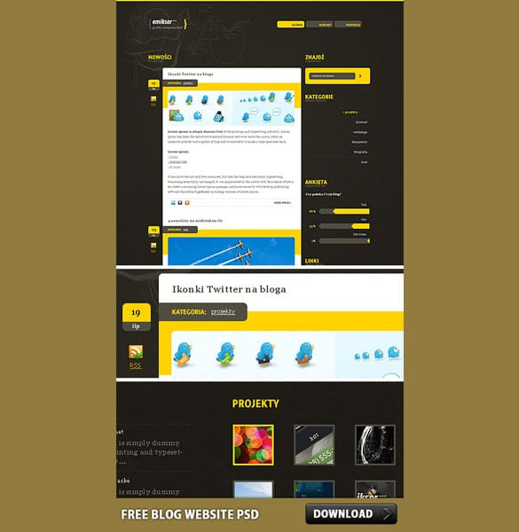 Creative Blog Website PSD