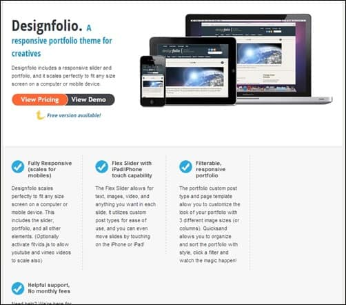 Designfolio responsive WordPress themes