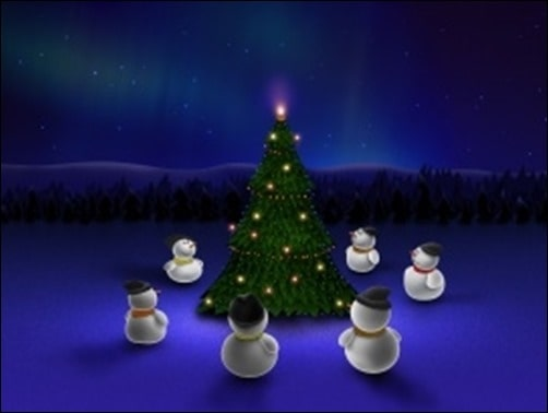 Snowman-Arund-Christmas-Tree