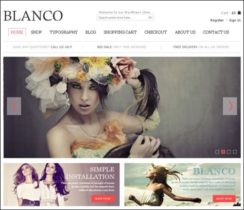 blanco WordPress ecommerce themes
