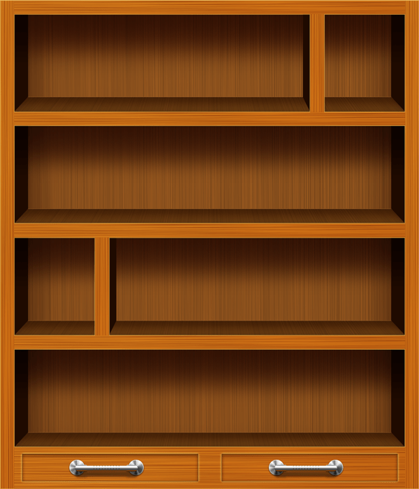 Wooden Bookshelf PSD Icons