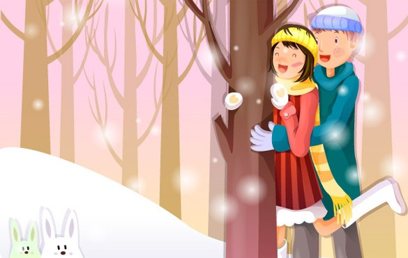 Joyful Winter Christmas Season Vector