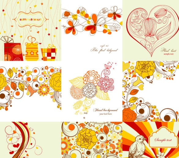 9 Exquisite hand-painted patterns vector