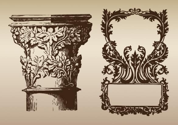 Victorian Pillar & Frame Ornamental Vectors