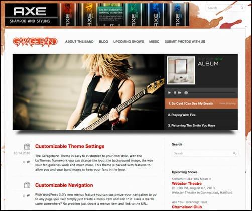 garage band wordpress music theme
