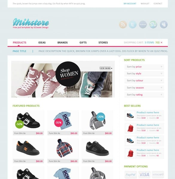 Mihstore Clothing Shop Website Template PSD