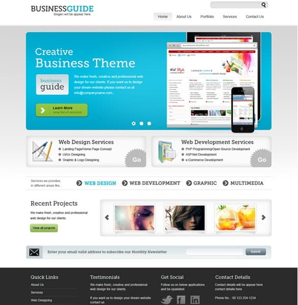 Quality Business Theme Website Template PSD