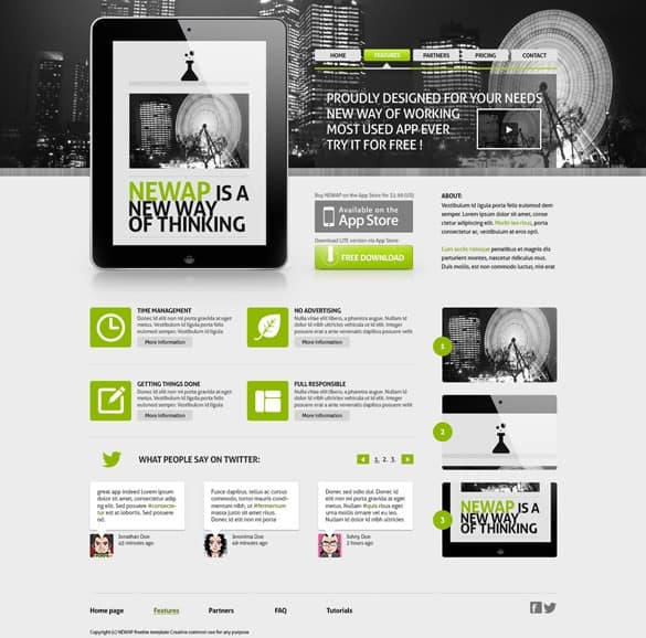 Newap App Website Template PSD