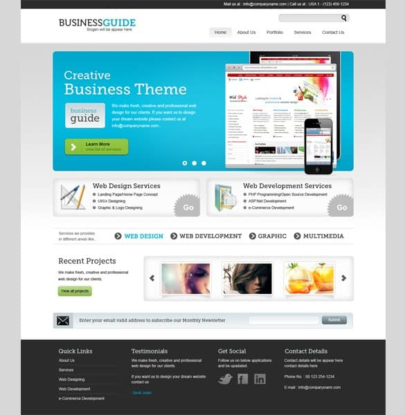 Pro Business Theme PSD Website