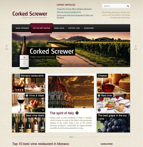 Dedicated to Wine PSD Website Template