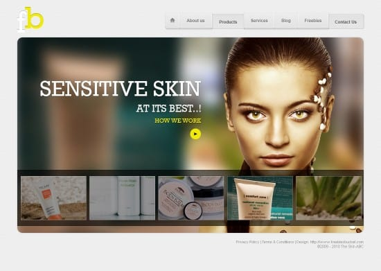 Beauty product web design template is following latest design trends. I have used blurred background effect here, with shadowed headings. You can use this template for display your products nicely in website. It is a free web design template. It will be useful for any kind of beauty product website.