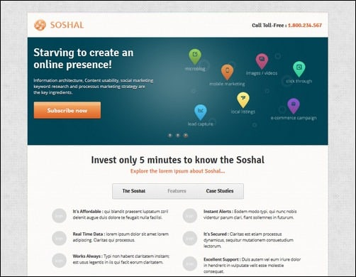 soshal landing page templates