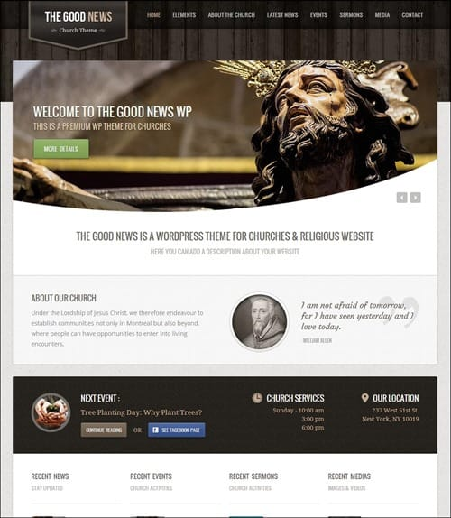 the good news Church Website Templates