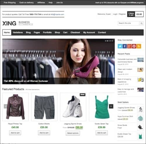 xing WordPress ecommerce themes