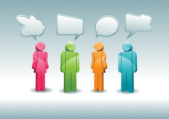 4 People Illustrations Speech Bubbles