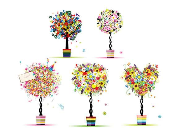 5 Abstract Flower Bonsai Vector Trees