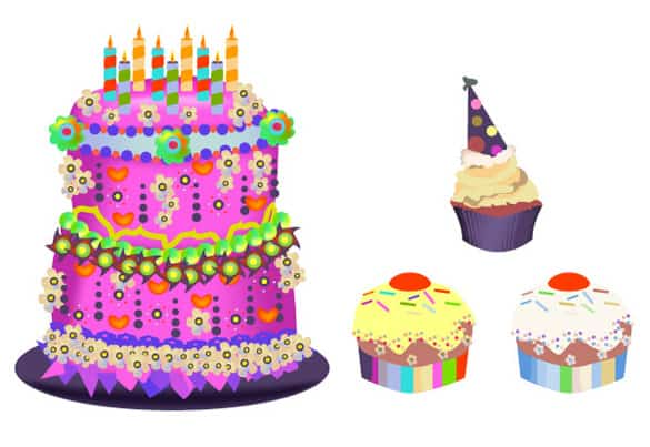 Colorful Birthday Cupcakes Vector