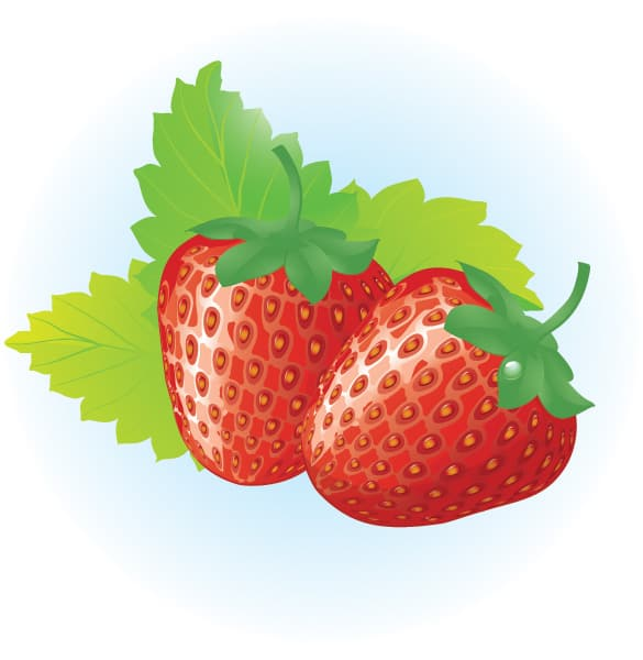 Juicy Red Strawberries Vector Graphic