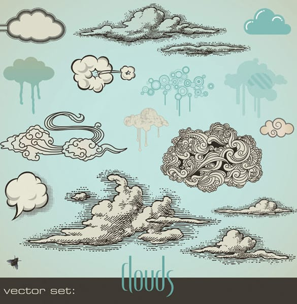 Abstract Vintage Art Cloud Vectors