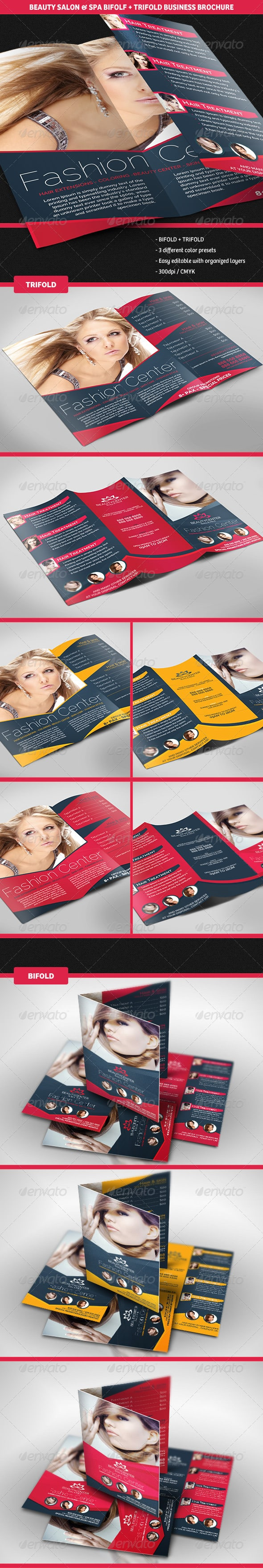 Beauty Center Bifold + Trifold Business Brochures
